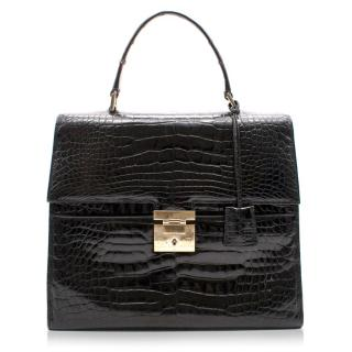 Gucci Black Crocodile Top Handle Bag