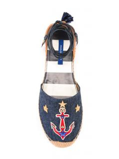 Dolce & Gabbana Anchor Embroidered fringed leather espadrilles