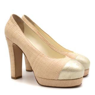 Chanel Woven Straw Platform Heeled Pumps