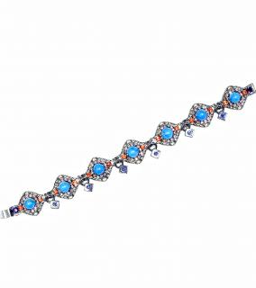 Viki Sarge Swarovski Crystals & Blue Turquoise Bracelet