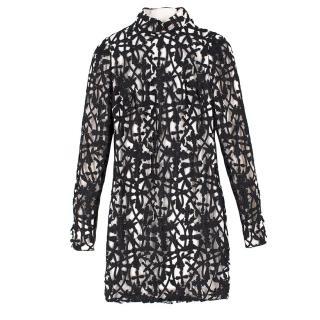 Versace Black & White Silk Lace Dress