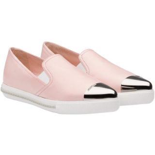 Miu Miu metallic toe cap pink sneakers