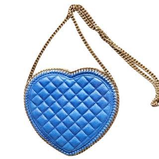 Stella McCartney blue falabella quilted shaggy heart cross body bag