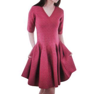 Alaia red signature fit and flare dress