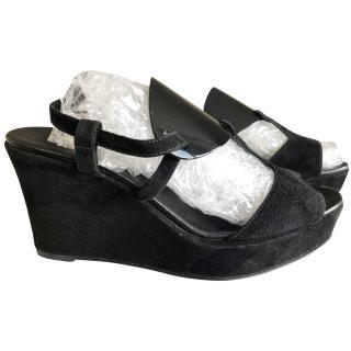 Hermes black suede wedge sandals