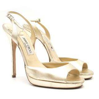 Jimmy Choo Metallic Gold Platform Sandals