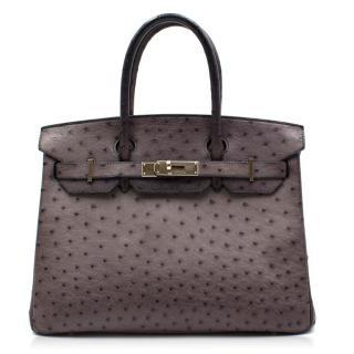 Hermes Gris Agate Ostrich 30cm Birkin Bag