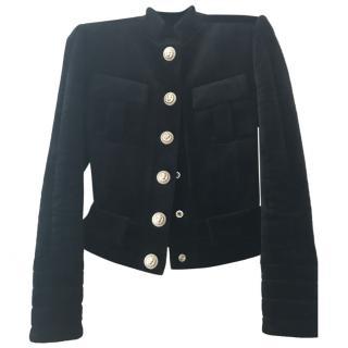 Balmain black short velvet Jacket