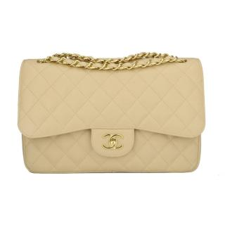 CHANEL Jumbo Beige Clair Caviar Double Flap Bag Beige Clair