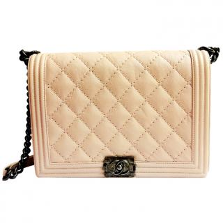 Chanel Blush Quilted Leather 30cm Boy Bag