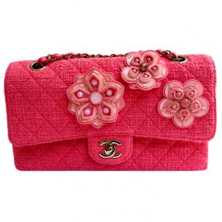 CHANEL LIMITED EDITION Pink Tweed Camellia Flower Flap bag
