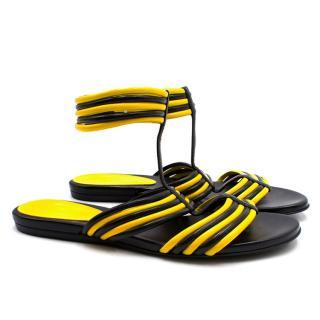 Alexander McQueen Black and Yellow Flat Sandals