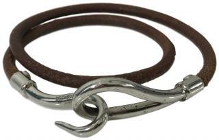 Hermes Brown Leather Jumbo Hook Bracelet