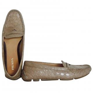 Prada crocodile beige flat moccasins/driving shoes
