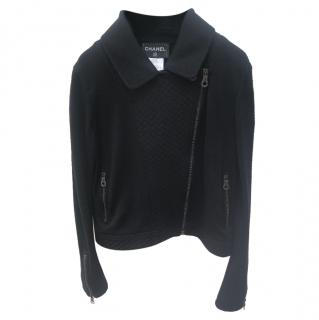 Chanel Black Wool Biker Jacket