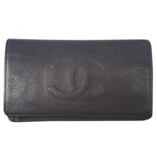Chanel grey caviar leather purse