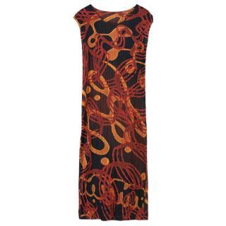 Pleats Please Issey Miyake Sleeveless Patterned Dress