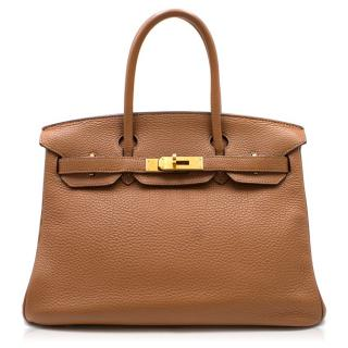 Hermes Camel Fjord Leather 30cm Birkin Bag