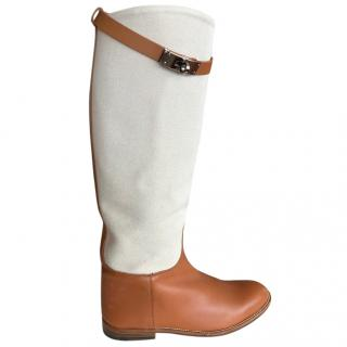 Hermes Linen/Tan Leather Riding Boots