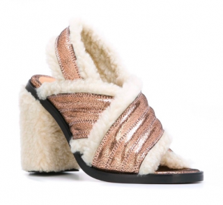 MM6 Maison Martin Margiela Copper shearling sandals