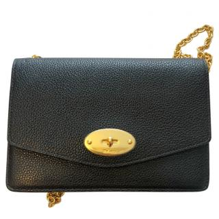 Mulberry black leather wallet on chain