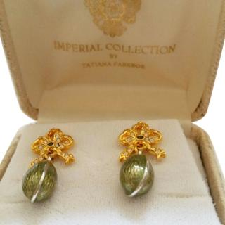 Faberge TATIANA FABERGE  Imperial CollectionGreen Enamel Earrings