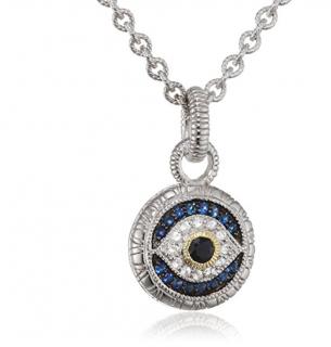 Judith Ripka Evil Eye Pendant with Black, White & Blue Sapphires