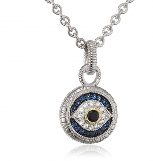 Judith Ripka Evil Eye Pendant with Black, White & Blue Sapphires