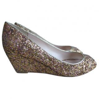 Lucy Choi glitter peep-toe wedges