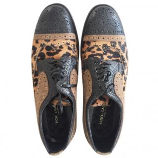 Dolce and Gabbana pony hair derby brogues