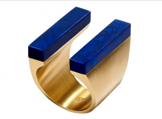 Ming Yu Wang Women's Gold Plated Brass Lapis Lazuli Ring