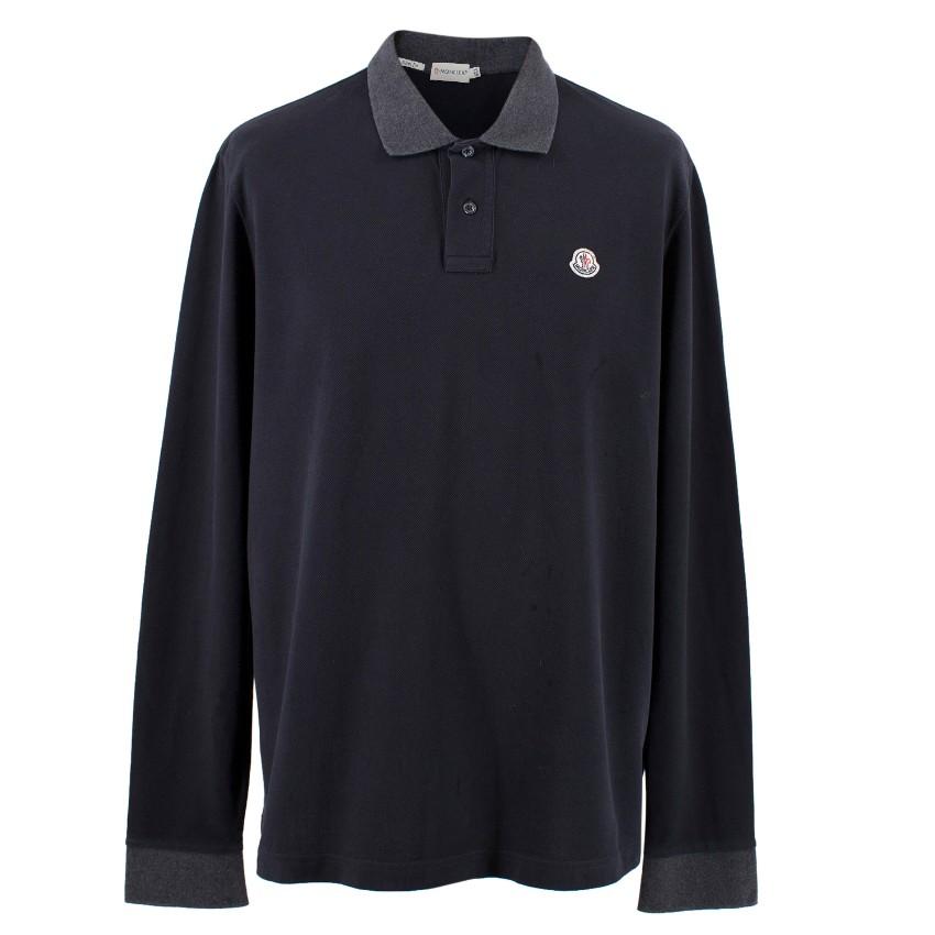 9a401ba0 Moncler Mens Navy Long Sleeve Polo Top | HEWI London
