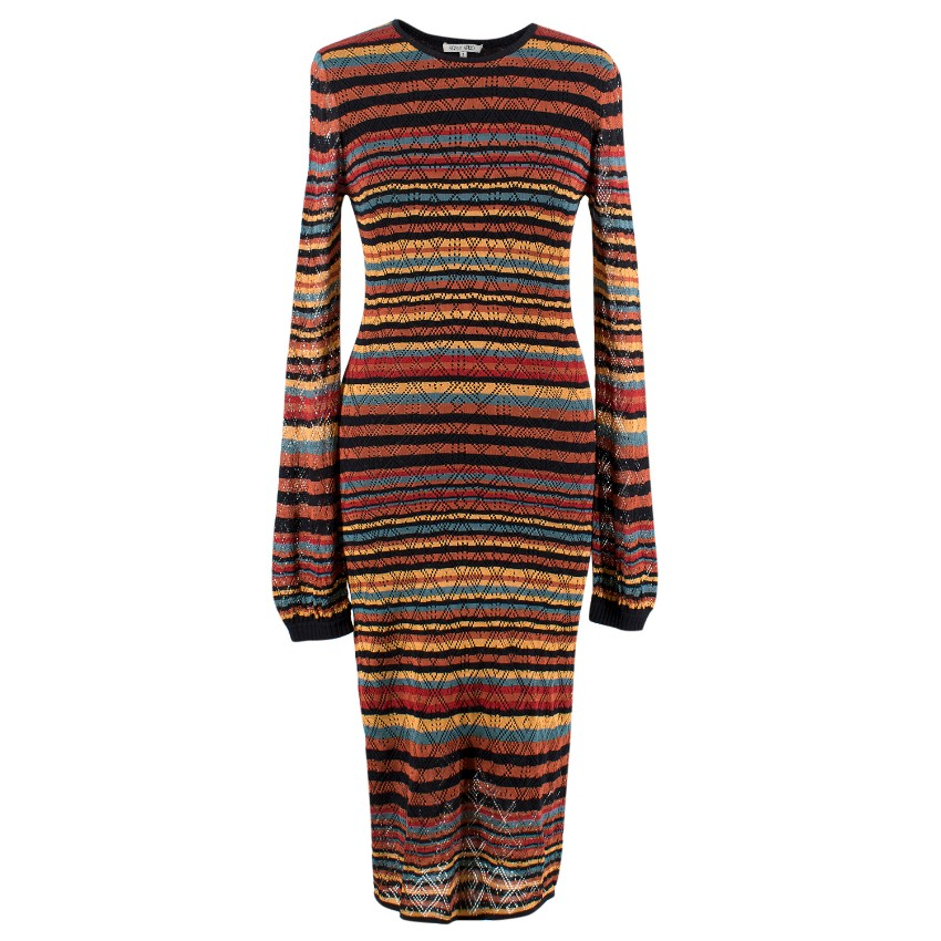 Ronny Kobo Striped Crochet Midi Dress