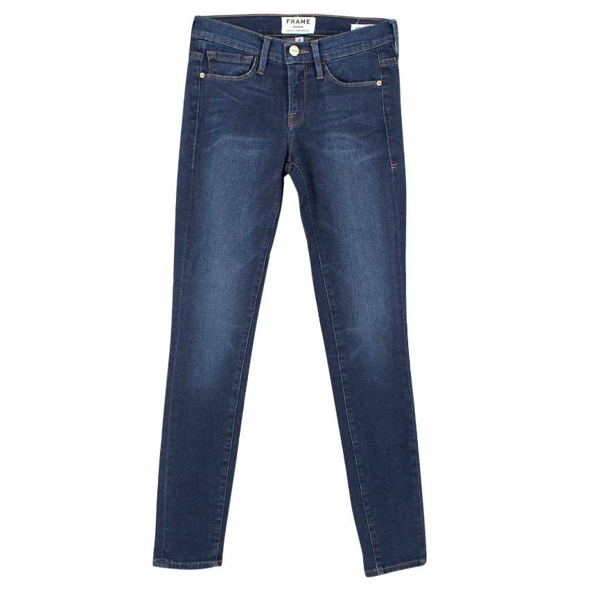 Frame Blue Skinny Mid-Rise Jeans