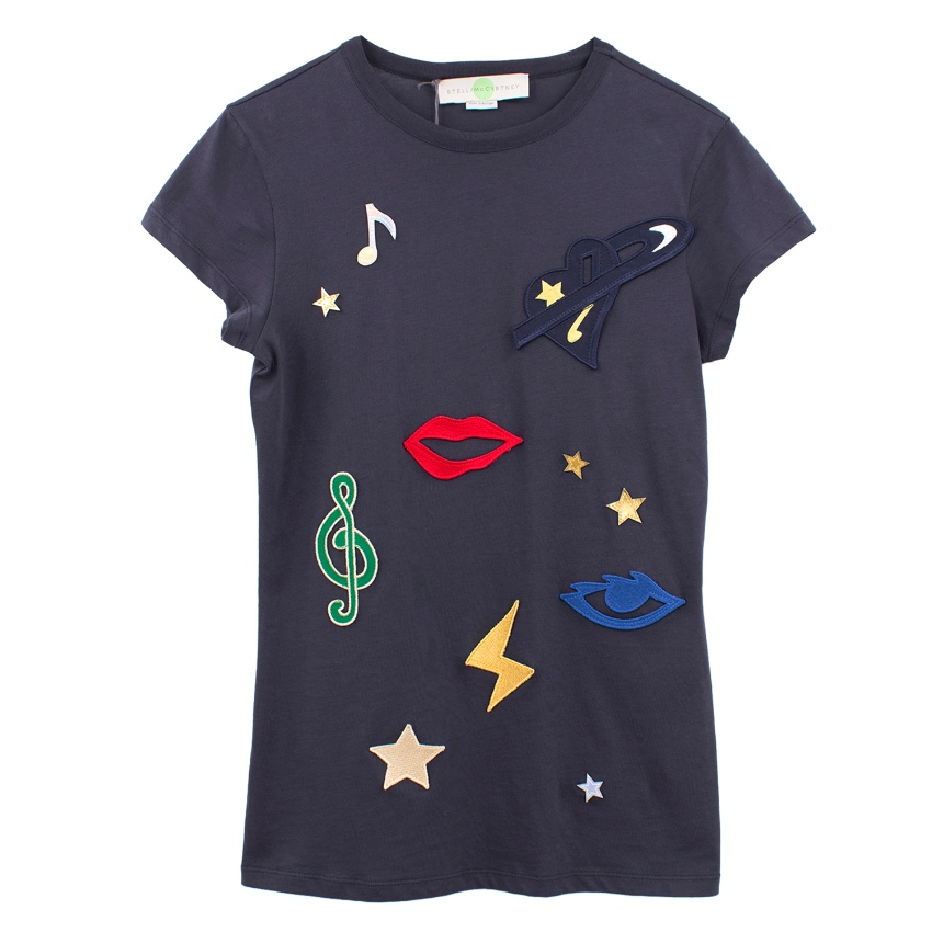 Stella McCartney Navy Applique Embellished T Shirt