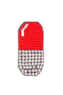 Shourouk Clear Crystal Emojibling Pill Brooch