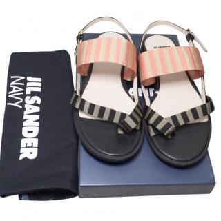 Jim Sander Striped Flat Slingback Sandals