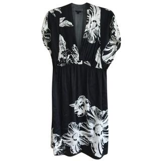 Joseph black and white silk floral print dress