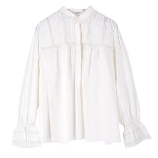 Sonia Rykiel Lace-Trimmed Pintucked Cotton-Poplin Shirt