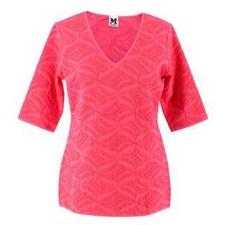 M Missoni Pink V-Neck Knit Top