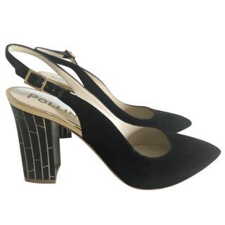 Pollini Black Suede Slingback Sandals