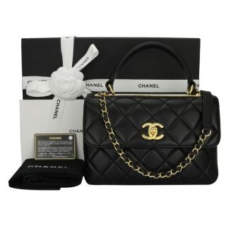 Chanel Small Black Lambskin Top Handle Bag