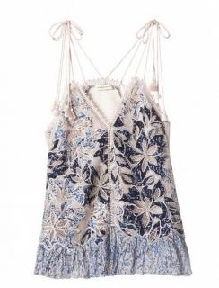 Rebecca Taylor Blue Floral Embroidered Cami Top