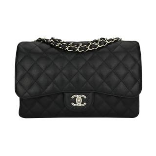 Chanel Black Caviar Single Flap Jumbo Bag
