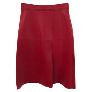 By Malene Birger Racianas A-line red leather skirt