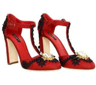 Dolce and Gabbana Red & Black Vally Jewel-Embellished T-Strap Pumps