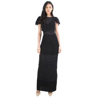 Chanel Black Lace Panelled Gown