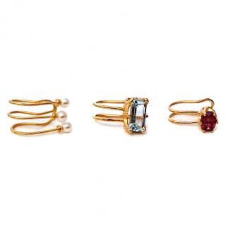 Beatriz Palacios Ear Cuffs Garnet, Topaz & Pearl