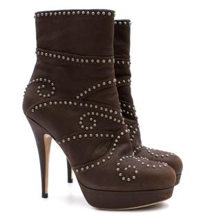 Miu Miu Brown Studded Platform Ankle Boots