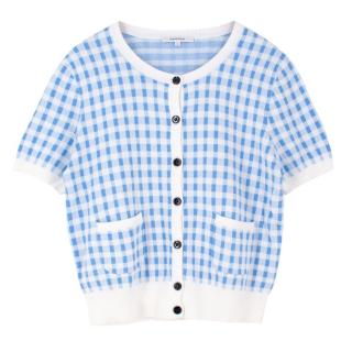 Carven White and Blue Checked Short Sleeve Cardigan